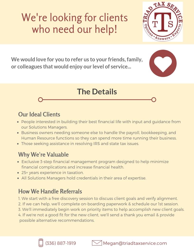 Our Referral Program – Triad Tax Service